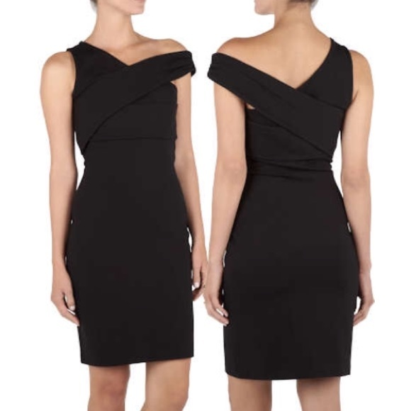 Halston Heritage Dresses & Skirts - Halston Heritage black bodycon asymmetrical dress